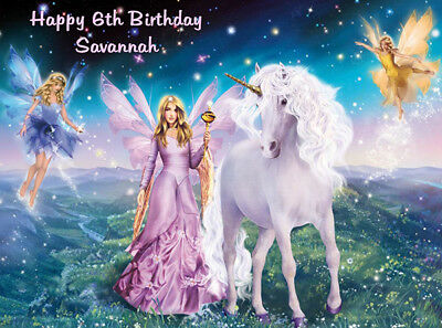 Unicorn And Fairies Edible Premium Icing Party Cake Decoration Image Topper