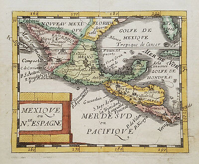 Original antique map of Mexico and central America from 1682 by Pierre Duval