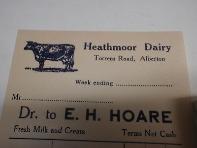 Heathmoor Dairy   Alberton S.A. invoice  with  Cow, Unused