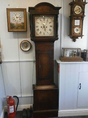 "Longcase Clock 12"" Painted Dial 8 Day Circa 1800 Oak & Mahogany grandfather case"