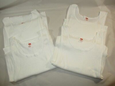 06dccbba3c5c0c 4) VTG. NOS Hanes White Ribbed Tank Top T-Shirts LG 42-44 Made USA ...