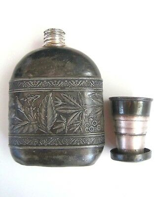Antique Silver Plate Ornate Engraved Flask With Collapsible Shot Glass Lid