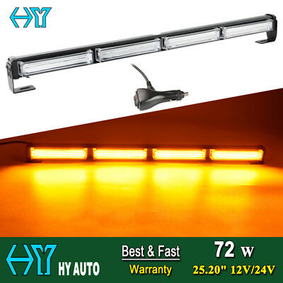 "25.2"" 72W COB LED Emergency Hazard Warn Traffic Advisor Strobe Light Bar Amber"