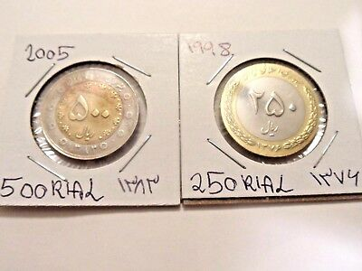 Near-East 1998,   250 and  2005,   500 rial coins
