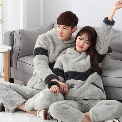 Winter Adult 2 Pcs Unisex Flannel Warm Hooded Suit Thicker Sleepwear Pajamas T46