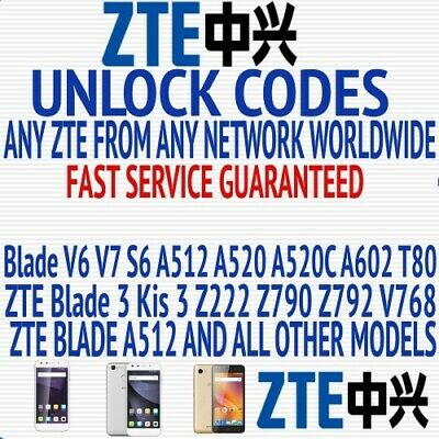 Unlock Unlocking Code Vodafone Smart ultra 6 ZTE Blade S6 V995N VDF-995NB01 995N