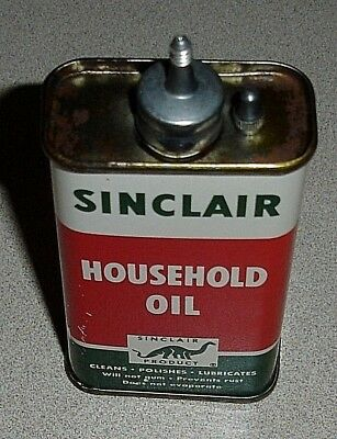 NOS Vintage SINCLAIR Lead Top 4 Oz Household Oil Can - Unopened Handy Oiler Tin