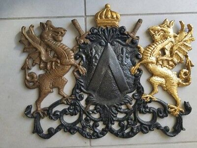 FANCY BIG Architectural Aartistic CAST IRON WALL Garden Hanging Plaque 22x17.5""