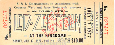 1  LED ZEPPELIN VINTAGE UNUSED FULL CONCERT TICKET 1977 Seattle, Washington