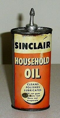 Old Oval Black Letter SINCLAIR Lead Top Household Oil Can - 4 Oz Handy Oiler Tin