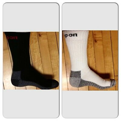 12 Pairs Men's (6 WHITE & 6 BLACK) Snap On Crew Socks XL  MADE IN USA     New!