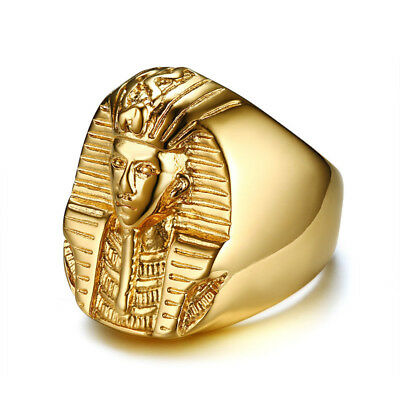 Men's Stainless Steel Ancient Egypt King Pharaoh Ring Vintage  Biker Ring Gold