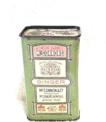 Vintage McCONNONS Pure Ground GINGER 3.25 Ounce SPICE TIN by McConnon's Remedies