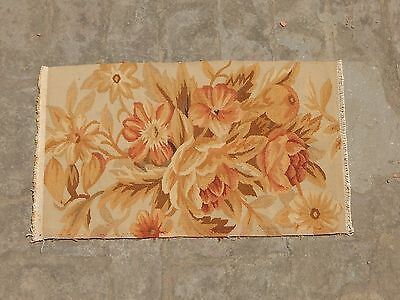 Antique French Hand Woven Beautiful Flowers Aubusson Tapestry 62x36cm (A1169)