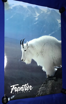 vintage 1990's Frontier Airlines Alaska Mountain Goat POSTER TRAVEL 24x36in