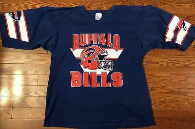 Buffalo Bills Vintage Cotton Jersey Shirt by Garan Blue Men's Size Large USA