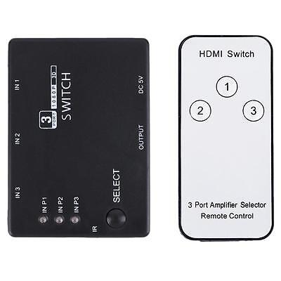 3 Port 1080P Video HDMI Switch Switch Splitter IR Remote Pour HDHE PS3 DVD AT