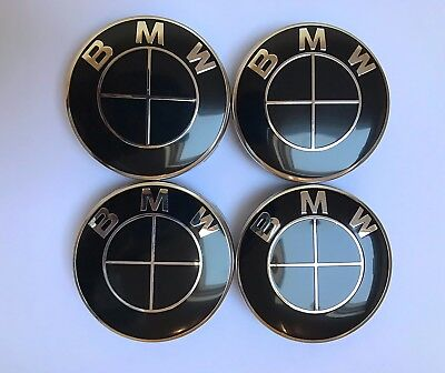 SET OF 4x BMW BLACK SILVERALLOY WHEEL CENTRE CAPS HUB CAPS DECAL BADGES 68mm