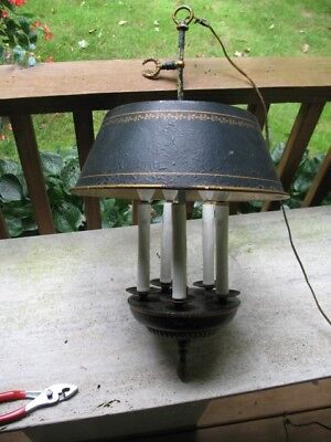 Vintage Bouillotte  Black Tole Italian Old World Chandelier Light Fixture