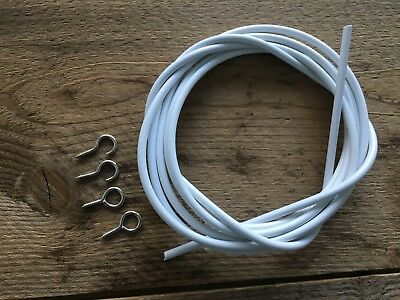 Net Curtain Wire White Window Cord Voil Expanding Cable With Hooks & Eyes Sprung