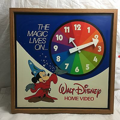 "Vintage 1980s Walt Disney home video ""The magic lives on"" wall clock - rare"