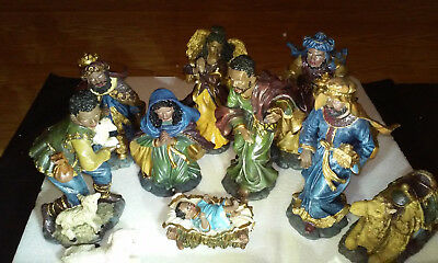 NIB African-American 10 Piece Nativity Set