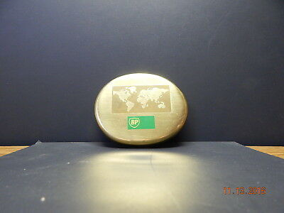 Bp British Petroleum Solid Brass Paperweight With World With World & Logo Etchin
