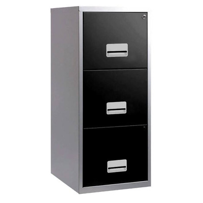 3 Drawer Pierre Henry Steel Black & Silver Lockable Filing Cabinet A4 - Quality