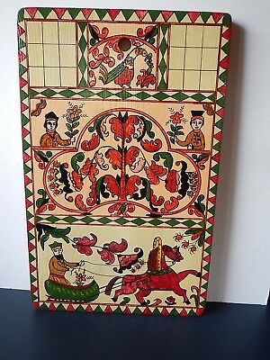 """Russian Khokhloma, hand painted, wall plaque; 13 7/8"""" by 9 7/8""""; sleigh"""