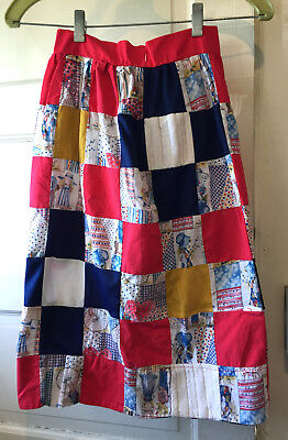 Vintage Childs 70's Patchwork Skirt Red White Blue Yellow Holly Hobbie Prairie