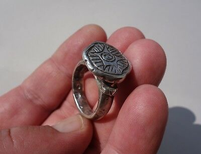 ancient solid knights silver Middle Ages beautiful engraved ring