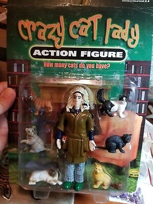ACCOUTREMENTS - CRAZY CAT LADY - ACTION FIGURE WITH 6 CATS Used sealed