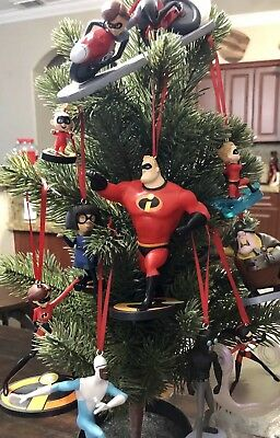 Disney Christmas Deluxe Ornament 10pc Set The Incredibles PVC