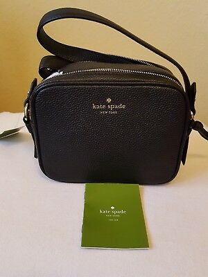 a26575e10f Kate Spade Mulberry Street Pyper Black Pebbled Leather Crossbody Purse Bag