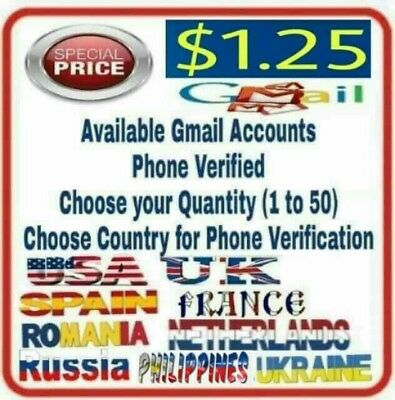 1/5/10/20/30/40/50 Gmail accounts USA-UK-FRA-SPAIN-NLD-ROM-PHP Phone Verified