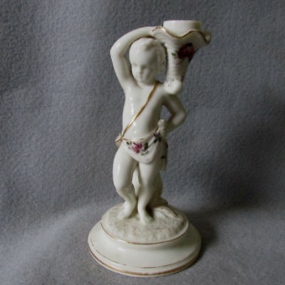 Lovely Antique Worcester Candlestick with Cherub & Roses
