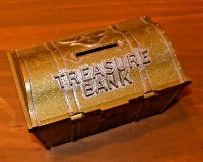 """Vintage 5"""" Plastic Toy - Pirate Treasure Coin Bank By BARTONS - Number 199"""