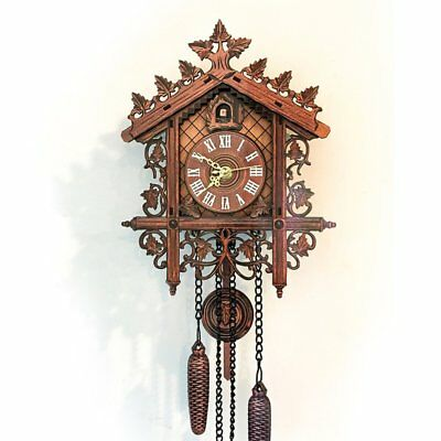 1pc Retro Vintage Wall Clock Hanging Handcraft Wooden Cuckoo Clock House Style W