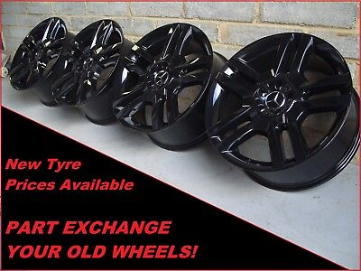 "2556 Genuine 20"" Mercedes 5 Twin Spoke ML Class GL GLE Class Black Alloy Wheels"