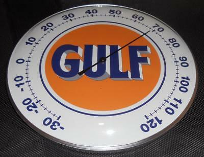 "Gulf Oil Thermometer 12"" Round Glass Dome Sign"
