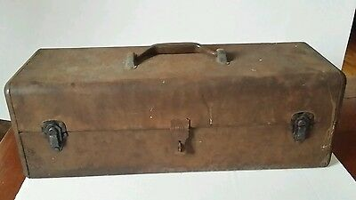 Vintage metal fishing tackle box large rusty