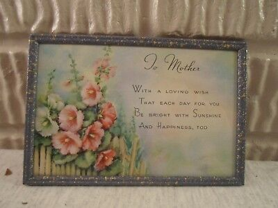 old metal picture frame,Poem to Mother, 4 X 6 inches, # 981