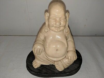 Vintage Happy Laughing Buddha Statue Resin Figurine Signed Heavy Prosperity