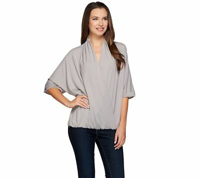 4569a7766ac H by Halston Womens Draped Wrap Front Knit Elbow Sleeve Top Grey Medium  Size QVC