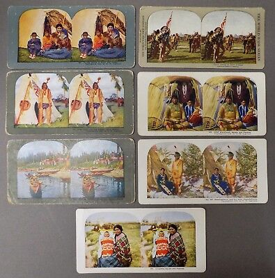 7 antique NATIVE AMERICAN INDIAN STEREOVIEW PHOTOS Ingersoll Sioux Crow Chippewa