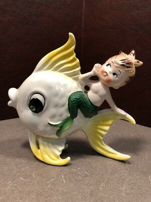 Bradley Mermaid Angel fish Wall Pocket vintage original