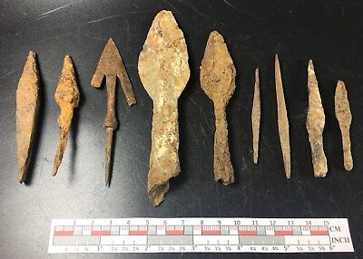 9 Ancient authentic iron European arrow / spear heads La Tene Celtic - Roman