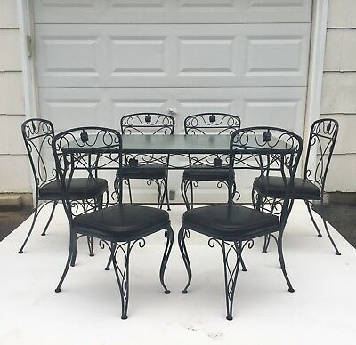 Vintage Salterini Style Wrought Iron Patio Set, Glass Top Table And 4 Chairs .