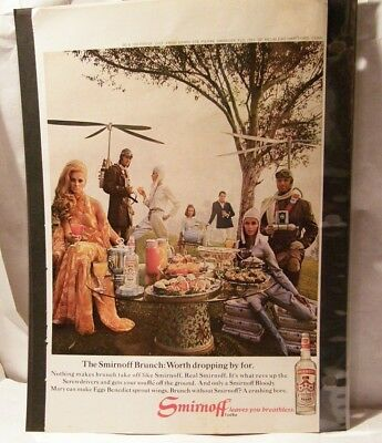Vintage Print Ad / Smirnoff Vodka / The Smirnoff Brunch: Worth dropping by for