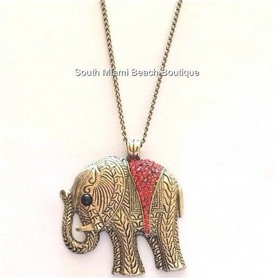"""Antique Gold Elephant Necklace Plated Burnished Brass Lucky 26"""" Plus Size X-Long"""